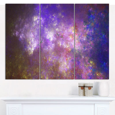 Designart Blur Fractal Sky With Stars Abstract Canvas Art Print - 3 Panels