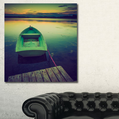 Designart Boat And Wooden Pier In Lake Boat CanvasArt Print - 3 Panels