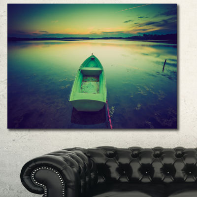 Design Art Boat At Sunset In Vintage Lake Boat Canvas Art Print - 3 Panels