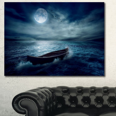 Designart Boat Drifting Away From The Past Landscape Canvas Art Print