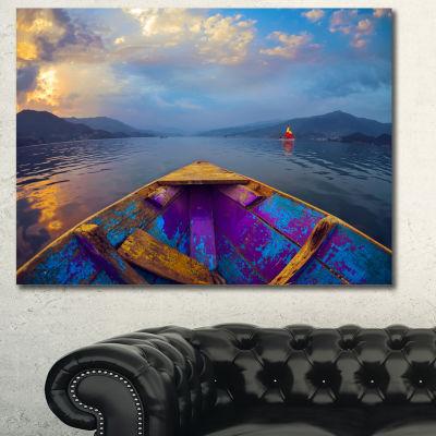 Designart Boat In Himalaya Mountains Lake Boat Canvas Art Print - 3 Panels