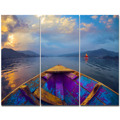 Designart Boat In Himalaya Mountains Lake Boat Canvas Art Print - 3 Panels