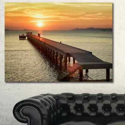 Designart Boat Pier At Sunset Bridge Canvas Art Print