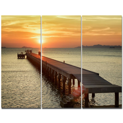 Designart Boat Pier At Sunset Bridge Canvas Art Print - 3 Panels