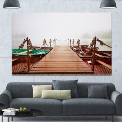 Designart Boats In Mysterious Fog Boat Canvas ArtPrint - 3 Panels