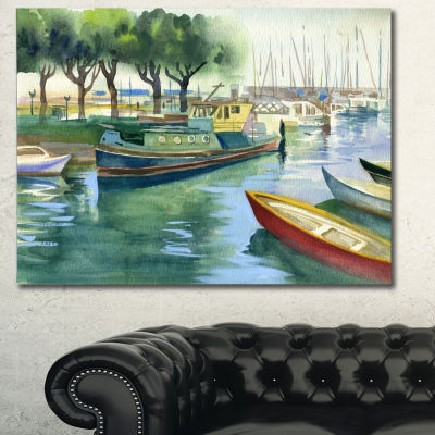 Designart Boats In River Watercolor Landscape Canvas Art Print - 3 Panels