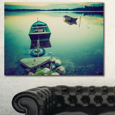 Designart Boats In Vintage Style Lake Boat CanvasArt Print - 3 Panels