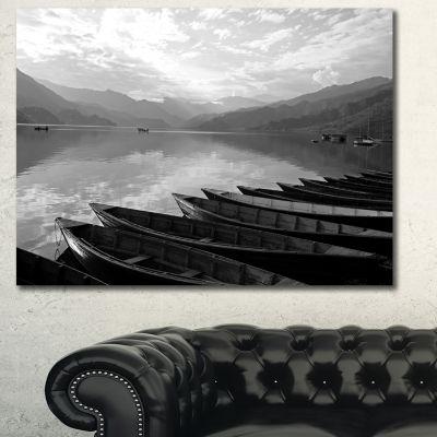 Designart Boats Lined Up On Pokhara Lake Boat Canvas Art Print - 3 Panels