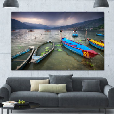 Design Art Boats Near Pokhara Lake Boat Canvas ArtPrint - 3 Panels