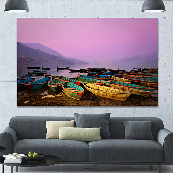 Designart Boats Under Twilight Sky In Phewa Boat Canvas Art Print