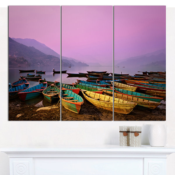 Design Art Boats Under Twilight Sky In Phewa BoatCanvas Art Print - 3 Panels