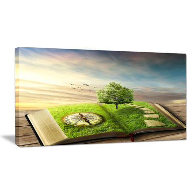 Designart Book Of Life With Greenery Landscape Canvas Art Print