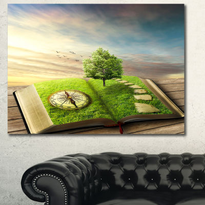 Designart Book Of Life With Greenery Landscape Canvas Art Print - 3 Panels