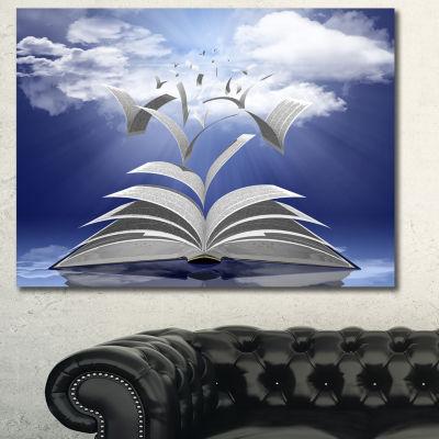 Designart Book Pages Skyward Abstract Canvas ArtPrint - 3 Panels