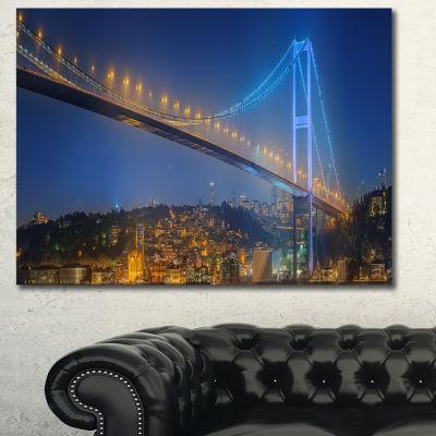 Designart Bosphorus Bridge At Night Istanbul Landscape Canvas Art Print - 3 Panels