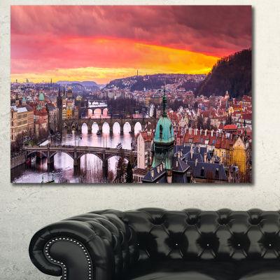 Designart Bridges In Prague Panorama Landscape Canvas Art Print - 3 Panels