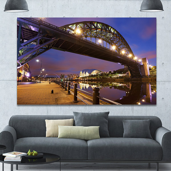 Designart Bridges Over River Tyne Newcastle Cityscape Canvas Art Print