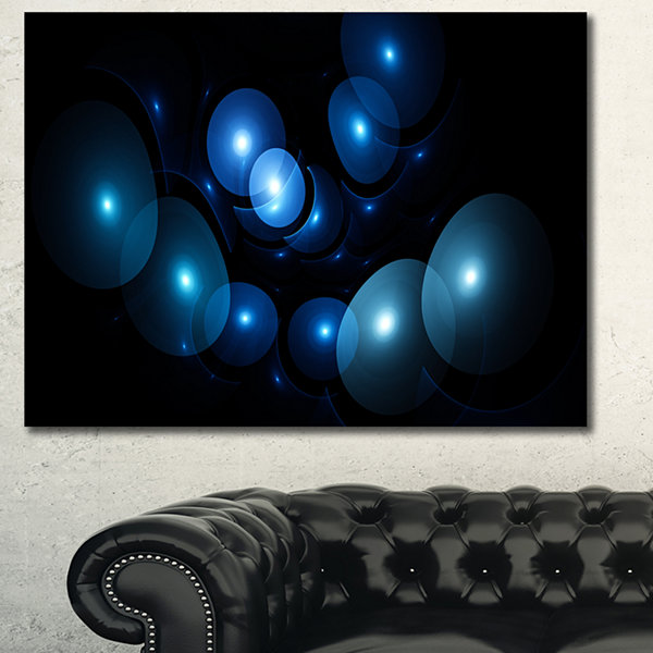 Designart Bright Blue 3D Surreal Circles AbstractArt On Canvas