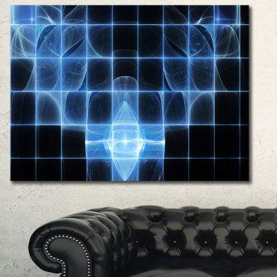 Designart Bright Blue Bat On Radar Screen AbstractCanvas Art Print