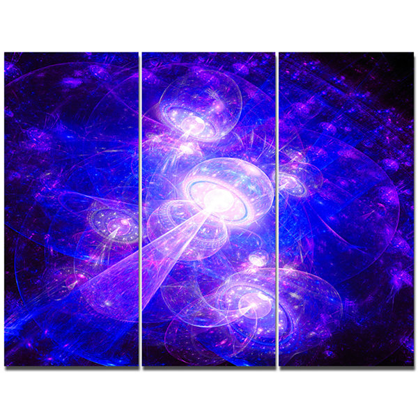 Design Art Bright Blue Fractal Space Theme AbstractCanvas Art Print - 3 Panels