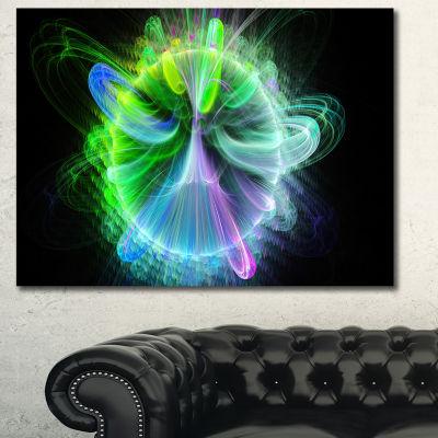 Designart Bright Blue Fractal Vortices Of EnergyFloral Canvas Art Print - 3 Panels