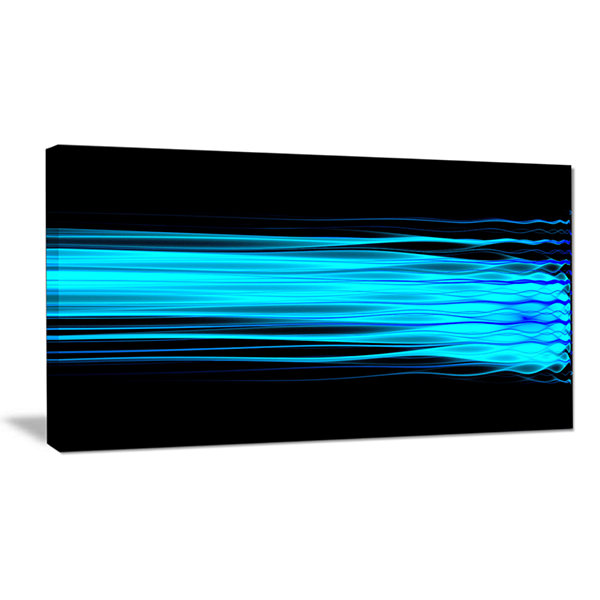 Designart Bright Blue Fractal Waves Abstract Art On Canvas
