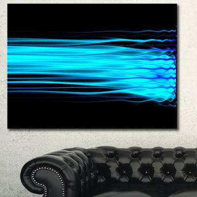Designart Bright Blue Fractal Waves Abstract Art On Canvas - 3 Panels