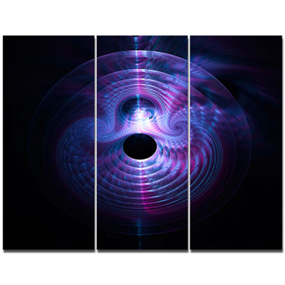 Designart Bright Blue Magical Lights Abstract ArtOn Canvas - 3 Panels