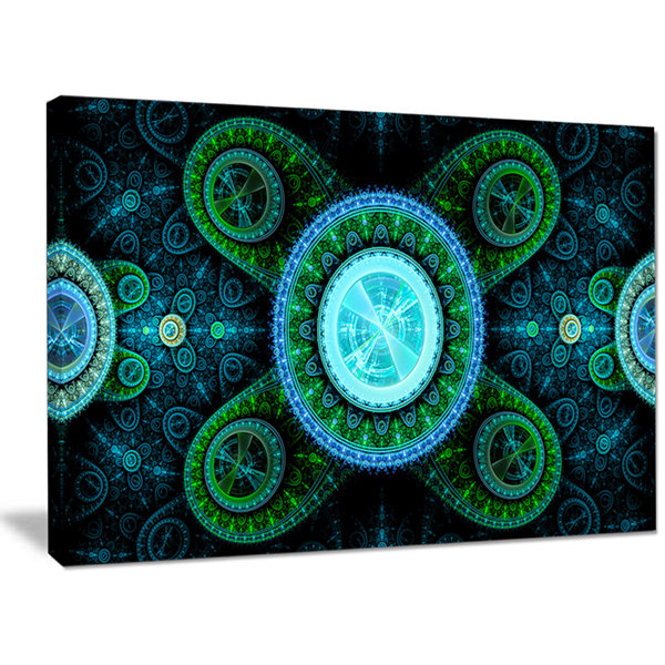 Designart Bright Blue Psychedelic Relaxing Art Abstract Canvas Art Print