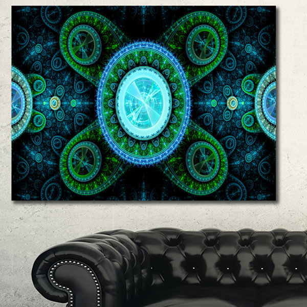 Designart Bright Blue Psychedelic Relaxing Art Abstract Canvas Art Print - 3 Panels