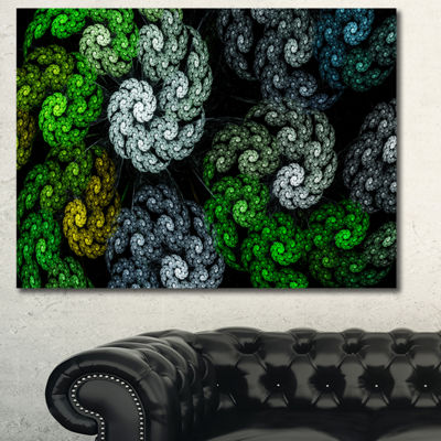 Designart Bright Exotic Spiral Flowers Abstract Canvas Art Print - 3 Panels