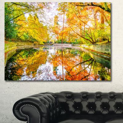 Designart Bright Fall Forest With River LandscapeCanvas Art Print - 3 Panels