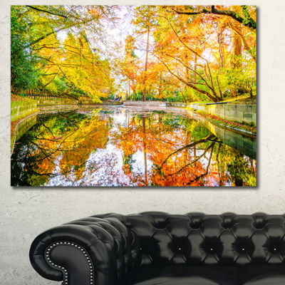 Designart Bright Fall Forest With River LandscapeCanvas Art Print - 3 Panels