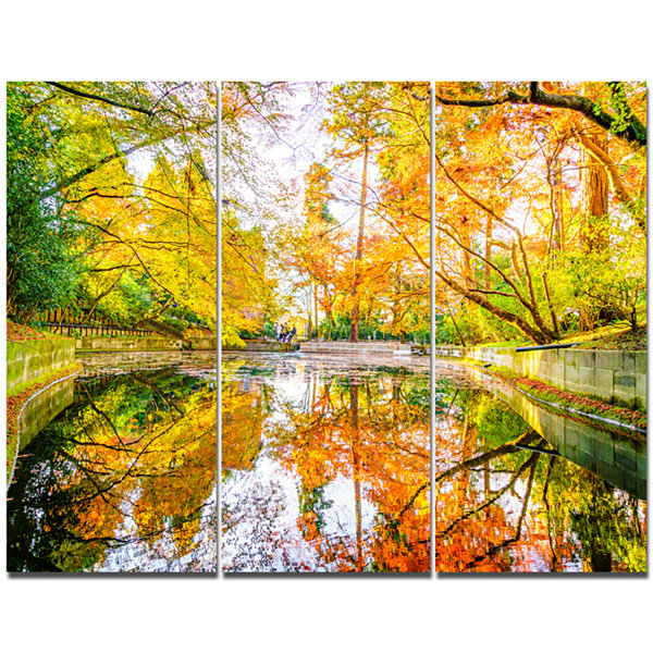 Design Art Bright Fall Forest With River LandscapeCanvas Art Print - 3 Panels