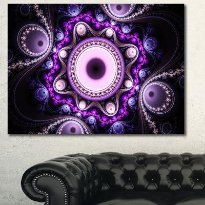 Designart Bright Fractal Circles And Waves Abstract Canvas Art Print - 3 Panels