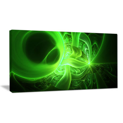 Designart Bright Green Designs On Black Abstract Canvas Art Print