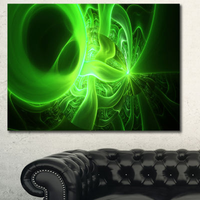 Design Art Bright Green Designs On Black AbstractCanvas Art Print - 3 Panels