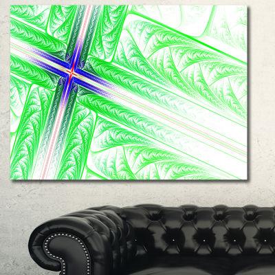 Designart Bright Green Fractal Cross Design Abstract Canvas Art Print