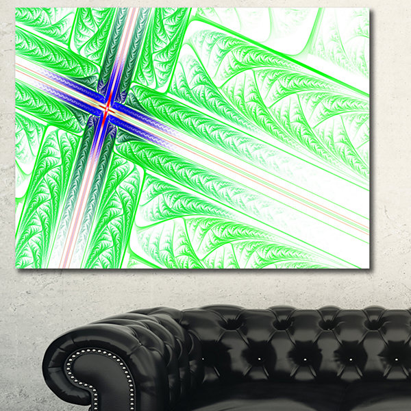 Designart Bright Green Fractal Cross Design Abstract Canvas Art Print - 3 Panels