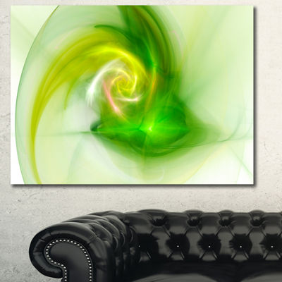 Designart Bright Green Fractal Illustration Abstract Canvas Wall Art - 3 Panels