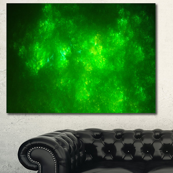 Designart Bright Green Fractal Sky With Stars Abstract Canvas Art Print - 3 Panels