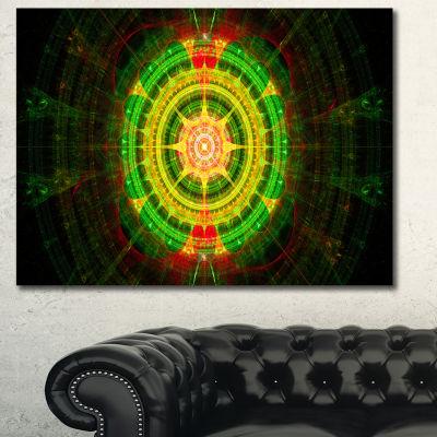 Designart Bright Green Fractal Sphere Abstract Canvas Art Print