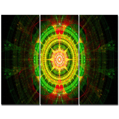 Designart Bright Green Fractal Sphere Abstract Canvas Art Print - 3 Panels