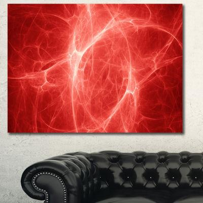 Designart Bright Lightning On Red Sky Floral Canvas Art Print - 3 Panels