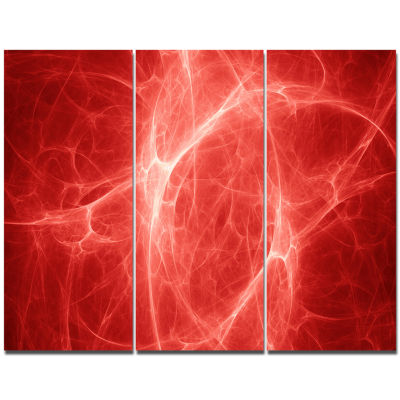 Design Art Bright Lightning On Red Sky Floral Canvas Art Print - 3 Panels