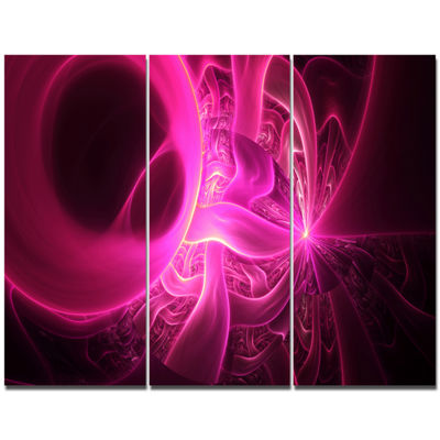 Designart Bright Pink Designs On Black Abstract Canvas Art Print - 3 Panels