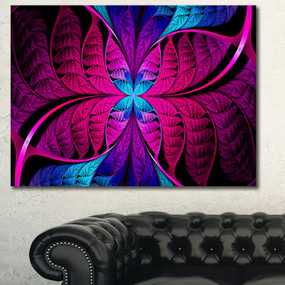 Designart Bright Pink Fractal Stained Glass Abstract Canvas Art Print