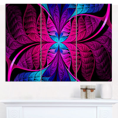 Designart Bright Pink Fractal Stained Glass Abstract Canvas Art Print - 3 Panels