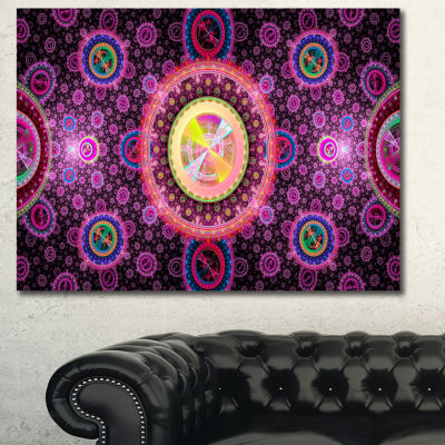 Designart Bright Pink Psychedelic Relaxing Art Abstract Canvas Art Print