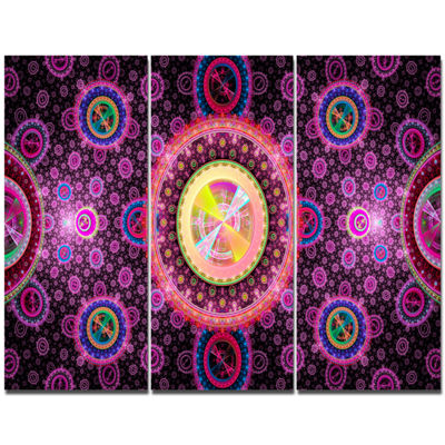 Designart Bright Pink Psychedelic Relaxing Art Abstract Canvas Art Print - 3 Panels